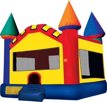 small multi color castle jumper